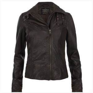 ALL SAINTS Belvedere Brown Leather Jacket